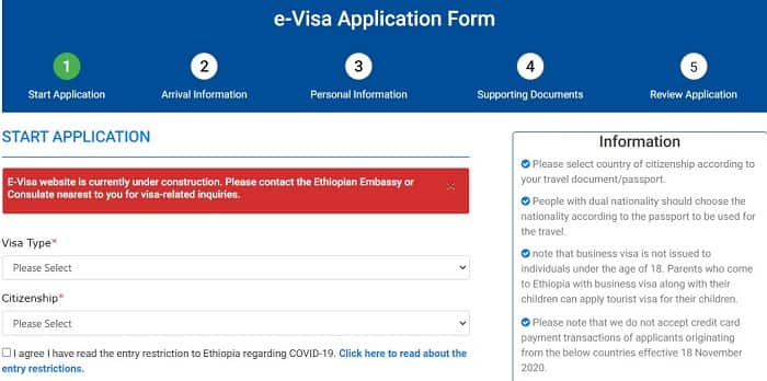 Ethiopian E-Visa and Visa on Arrival services are suspended